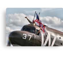 We Love Duxford - DC3 Waves To The Crowd Line - Duxford 2014 Canvas Print