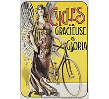 Unknown - Cycles La Gracieuse Et Gloria Poster. Woman portrait: sensual woman,  bicycle ,  bicycling ,  cycle,  cycling,  enjoy,  free time,  fun,  hobbies,  hobby,  holiday Photographic Print