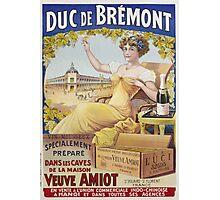 Unknown - Duc De Bremont - Veuve Amiot. Woman portrait: sensual woman,  bunch,  grapes,  lovely woman,  enjoying ,  champagne,  beautiful ,  bottle ,  market, sexy lady, erotic pose Photographic Print