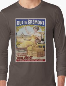 Unknown - Duc De Bremont - Veuve Amiot. Woman portrait: sensual woman,  bunch,  grapes,  lovely woman,  enjoying ,  champagne,  beautiful ,  bottle ,  market, sexy lady, erotic pose Long Sleeve T-Shirt