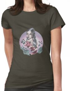 Girl with red fox Womens Fitted T-Shirt