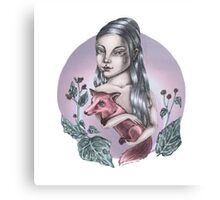 Girl with red fox Canvas Print