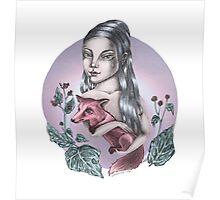 Girl with red fox Poster