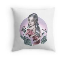 Girl with red fox Throw Pillow