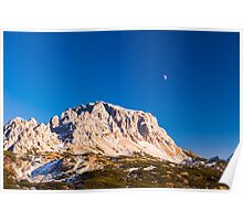 moon is rising behind the mountains Poster