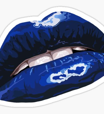 Blue Layered Graphic Lips Sticker