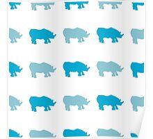 Seamless African Rhinoceros Background. Animal Pattern Poster