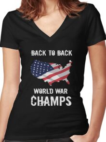 Back-To-Back World War Champs T-Shirt Women's Fitted V-Neck T-Shirt