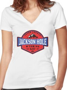JACKSON HOLE WYOMING Mountain Skiing Ski Snowboard Snowboarding 3 Women's Fitted V-Neck T-Shirt