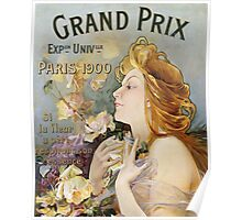 Unknown - Grand Prix Poster. Woman portrait: sensual woman,  attractive,  beautiful ,  brunette ,  cheerful,  glad ,  happy,  head and shoulders,  hugging,  pleasing,  pleasure Poster