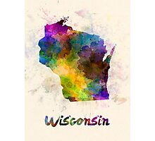 Wisconsin US state in watercolor Photographic Print