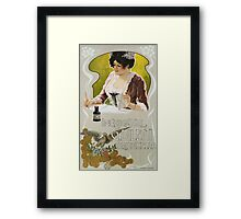 Unknown - Inchiostri G. Diletti Brisighella Writing Ink Poster. Woman portrait: sensual attractive beautiful brunette ,  cheerful,  glad ,  happy,  head and shoulders,  hugging,  pleasing,  pleasure Framed Print