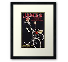 Unknown - James - The King Of Cycles & Motorcycles Poster. Woman portrait: sensual woman,  bicycle ,  bicycling ,  cycle,  cycling,  enjoy,  free time,  fun,  hobbies,  hobby,  holiday Framed Print