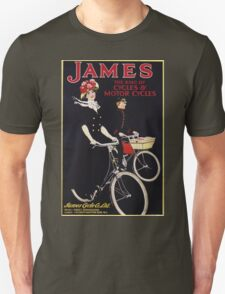 Unknown - James - The King Of Cycles & Motorcycles Poster. Woman portrait: sensual woman,  bicycle ,  bicycling ,  cycle,  cycling,  enjoy,  free time,  fun,  hobbies,  hobby,  holiday Unisex T-Shirt