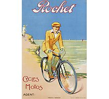 Unknown - Rochet Cycles Motos Poster. Man portrait: strong man,  bicycle ,  bicycling ,  cycle,  cycling,  enjoy,  free time,  fun,  hobbies,  hobby,  holiday Photographic Print