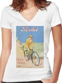 Unknown - Rochet Cycles Motos Poster. Man portrait: strong man,  bicycle ,  bicycling ,  cycle,  cycling,  enjoy,  free time,  fun,  hobbies,  hobby,  holiday Women's Fitted V-Neck T-Shirt