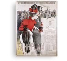 Unknown - Strassburger Strassenbahnen Fahrplan Poster. People portrait: woman and man, travel,  europe,  transport,  men,  women,  vintage art,  transportation  ,   hats,   trains,  strasbourg Canvas Print