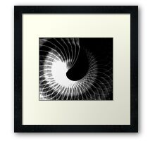 black and white spiral abstract Framed Print