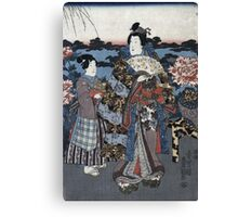 Utagawa Kunisada - Enjoying A Garden Of Peonies. Woman portrait: sensual woman, geisha, kimono, courtesan, silk, beautiful dress, umbrella, wig, lady, exotic, beauty Canvas Print