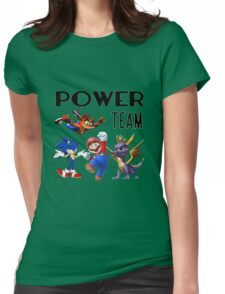 Gaming Power Team: Mario, Crash, Spyro, Sonic Womens Fitted T-Shirt