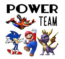 Gaming Power Team: Mario, Crash, Spyro, Sonic Photographic Print