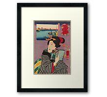 Utagawa Kunisada - Landscapes and Beauties: Feeling Like Reading the Next Volume.   Woman portrait: woman, geisha, kimono, dream, feeling, umbrella, dress, fashion , female, makeup, wig Framed Print