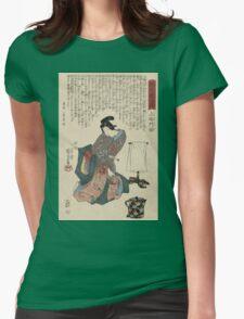 Utagawa Kunisada - Ueshima Monya From The Series The Forty-Seven Ronin. Woman portrait: woman, geisha, kimono, dream, feeling, umbrella, dress, fashion , female, makeup, wig Womens Fitted T-Shirt