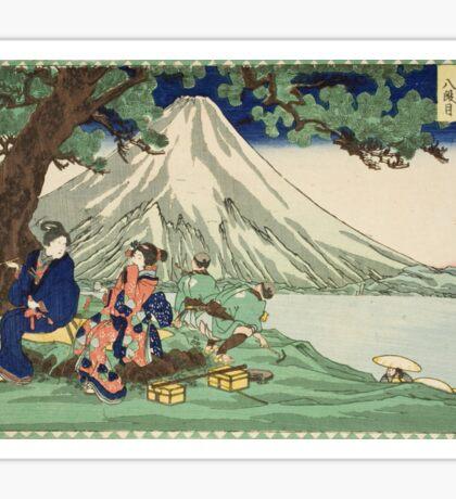 Utagawa Kuniyoshi - Act Eight (Hachi Danme)1854. Mountains landscape: mountains, rocks, rocky nature, sky and clouds, trees, peak, women, men, hill, travel, hillside Sticker