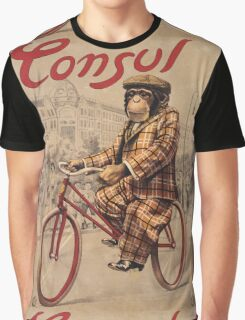 Unknown - Consul Poster. Man portrait: chimpanzee, Consul, Man , Chimp, star , rides, bicycle, chauffeur, manly, sexy men, macho Graphic T-Shirt