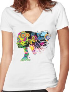 Girl with flowers Women's Fitted V-Neck T-Shirt