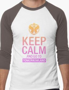 Keep Calm and go to Tomorrowland - Pink gradient Men's Baseball ¾ T-Shirt