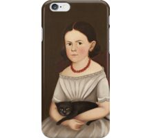 Unknown - Girl With Cat. Girl portrait: girl,  girls,  glad ,  happy,  head and shoulders,  hugging, face with hairs, beautiful dress,  cat,  animal,  childhood  iPhone Case/Skin