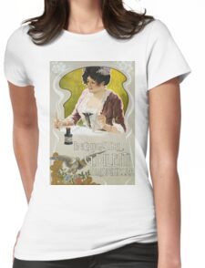 Unknown - Inchiostri G. Diletti Brisighella Writing Ink Poster. Woman portrait: sensual attractive beautiful brunette ,  cheerful,  glad ,  happy,  head and shoulders,  hugging,  pleasing,  pleasure Womens Fitted T-Shirt