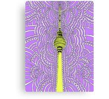 Fernsehturm Drawing Meditation - purple Canvas Print