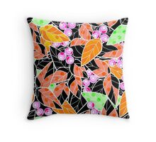 Seamless pattern wild berries branch leaves retro texture print background Throw Pillow