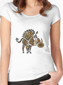 Cool Funky Warthog Abstract Art Women's Fitted Scoop T-Shirt