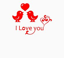 Red I Love You Romantic Birds Design Womens Fitted T-Shirt
