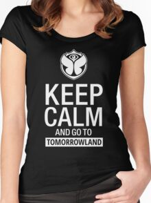 Keep Calm and go to Tomorrowland - White Women's Fitted Scoop T-Shirt