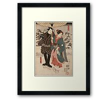 Utagawa Kuniyoshi - Osatao And Gonta1. Lovers portrait: sensual woman, woman and man, kiss, kissing lovers, embrace, lovely couple,  lover, valentine's day, sexy, romance, female and male Framed Print
