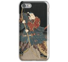 Utagawa Kunisada - An Actor In The Role Of Saitogo Kunitake. Man portrait:  actor ,  mask,  face,  man ,  samurai ,  hero,  costume,  kimono,  tattoos,  theater,  shows iPhone Case/Skin