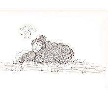 Tangled Sleepy Sheep Photographic Print