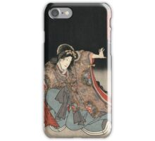 Utagawa Kunisada - An Actor In The Role Of Narutonomae. Portrait:  actor ,  mask,  face,  kimono,  tattoos,  theater,  shows iPhone Case/Skin