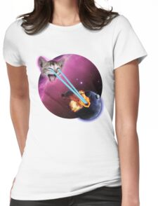 Laser Cat, Destroyer of Planets Womens Fitted T-Shirt