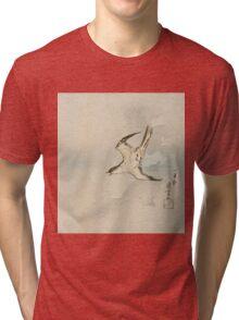 Utagawa Kuniyoshi - Hototogisu. Bird painting: cute fowl, fly, wings, lucky, pets, wild life, animal, birds, little small, bird, nature Tri-blend T-Shirt