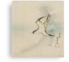 Utagawa Kuniyoshi - Hototogisu. Bird painting: cute fowl, fly, wings, lucky, pets, wild life, animal, birds, little small, bird, nature Canvas Print