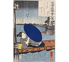 Utagawa Kuniyoshi - A Young Woman With A Blue Open Umbrella In A Boat Between Wooden Bridge Supports. Woman portrait: sensual geisha, kimono, courtesan, beautiful dress, wig, lady, exotic, beauty Photographic Print