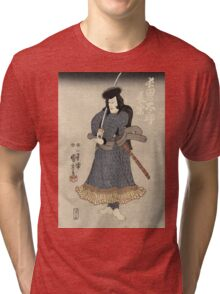 Utagawa Kuniyoshi - An Actor In The Role Of Osadanotaro Nagamune. Man portrait:  actor ,  mask,  face,  man ,  samurai ,  hero,  costume,  kimono,  tattoos,  theater,  shows Tri-blend T-Shirt