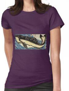 Utagawa Kuniyoshi - Miyamoto Musashi. Sea landscape: whale , shark , fish , giant , blustery, ocean, hero, warrior . Womens Fitted T-Shirt
