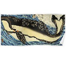 Utagawa Kuniyoshi - Miyamoto Musashi. Sea landscape: whale , shark , fish , giant , blustery, ocean, hero, warrior . Poster
