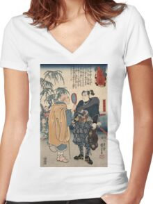 Utagawa Kuniyoshi - Miyamoto Musashi And The Whale. Man portrait:  mask,  face,  man ,  samurai ,  hero,  costume,  kimono,  tattoos ,  sport,  sumo, macho Women's Fitted V-Neck T-Shirt